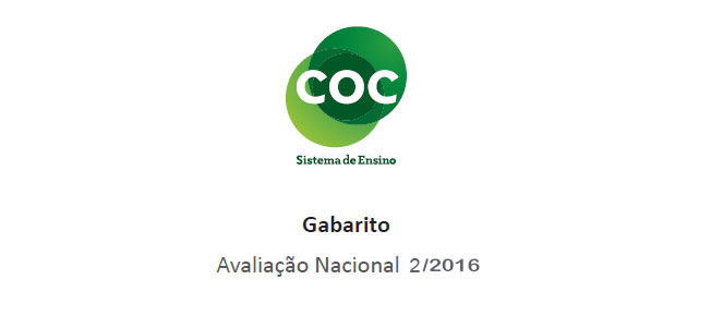 Sistema COC (4º ao 9º ano) – Segundo Simulado/2016 – Gabarito para conferência